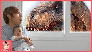 국민이 집에 공룡이 나타났어요! 무사히 방탈출 성공할까요? (꿀잼 상황극ㅋ) ♡ 레고 쥬라기월드 블럭 장난감 놀이 toys | 말이야와아이들 MariAndKids