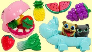 Disney Jr Puppy Dog Pals Bingo and Rolly Feed a Hungry Hippo Toy Velcro Cutting Fruit!