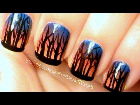 Ombre Sunset Forest Nail Art
