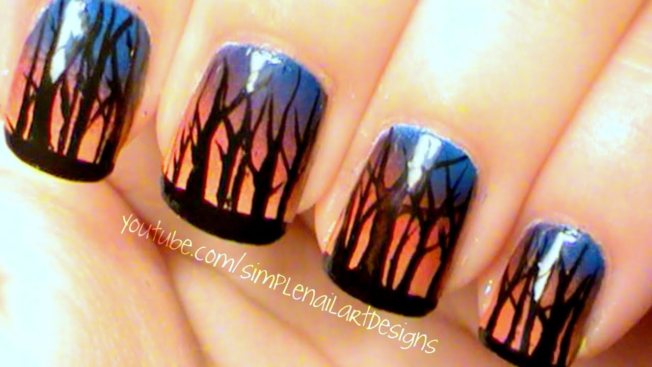 Ombre Sunset Forest Nail Art Youtube