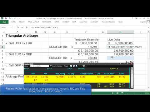 Foreign Exchange Triangular Arbitrage Example using Live Data
