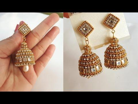 How to make designer Earrings at home | DIY | silk thread jewellery | pearl drop earrings