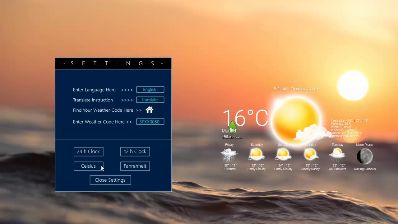 Realistic Weather Forecast 5 Rainmeter Skin