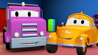 tom the tow truck and the flatbed truck in car city in car city   trucks cartoon for kids