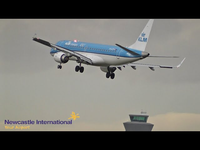 Storm Brendan crosswind action at Newcastle International Airport