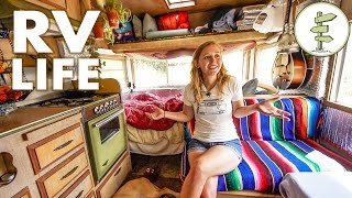 One of Exploring Alternatives's most viewed videos: Minimalist Couple Living in a Tiny Camper Trailer That Cost Only $1,800 - RV Life