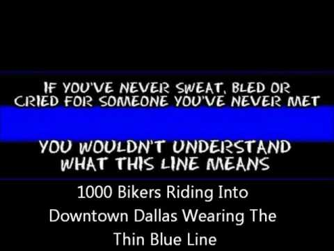 1000 motorcycle riders headed into downtown dallas wearing the thin blue line youtube. Black Bedroom Furniture Sets. Home Design Ideas