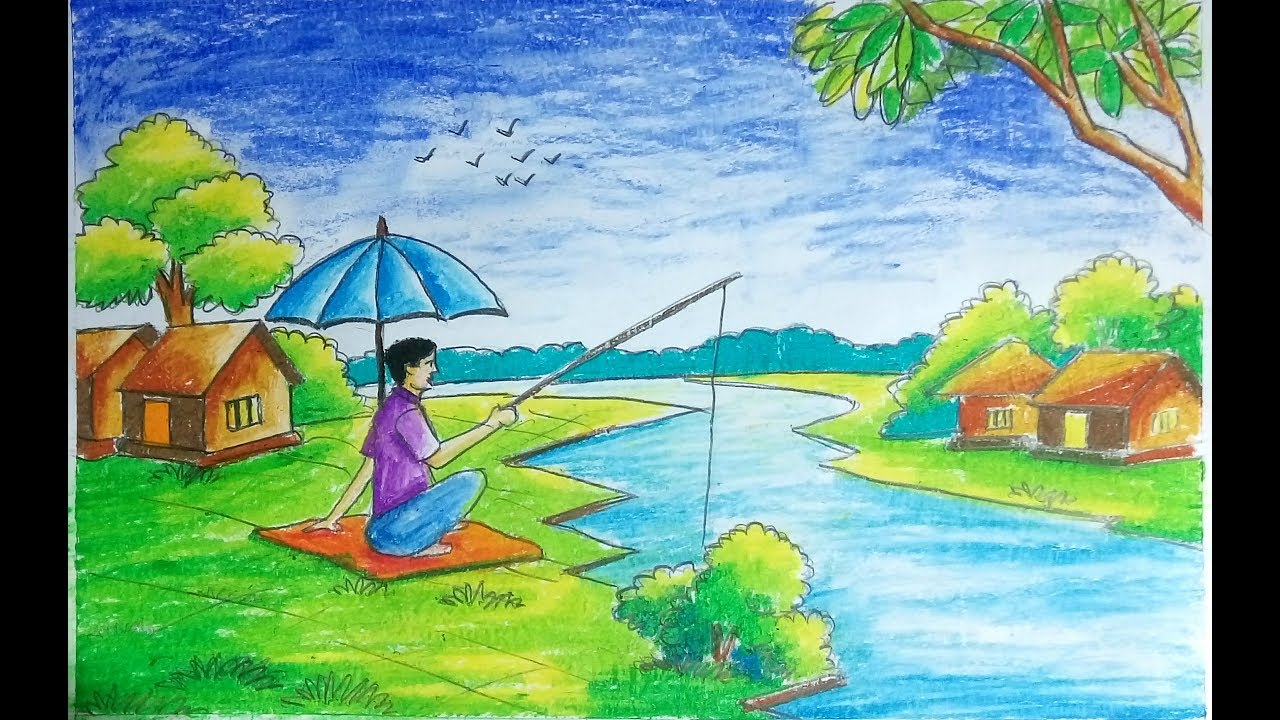 fishing scenery drawing with outline and painting with oil pastle