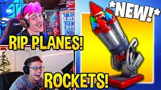 "STREAMERS EXCITED FOR *NEW* ""BOTTLE ROCKETS"" ITEM! *RIP PLANES* - Fortnite Moments"
