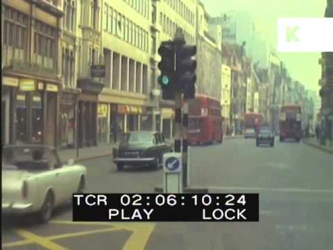 1960s Fleet Street, London, Colour Footage, Street Scene, Cars, Buses