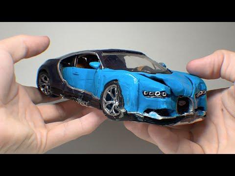 Разбил Bugatti Chiron, краш тест из ПЛАСТИЛИНА