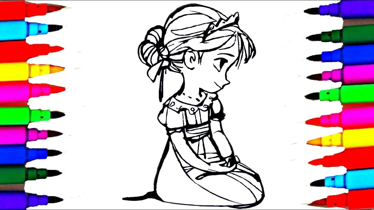 Learn Colors by Drawing Pages Disney Frozen Anna Moana Kids Drawing ...