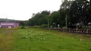 留萠本線・増毛駅から発車する列車