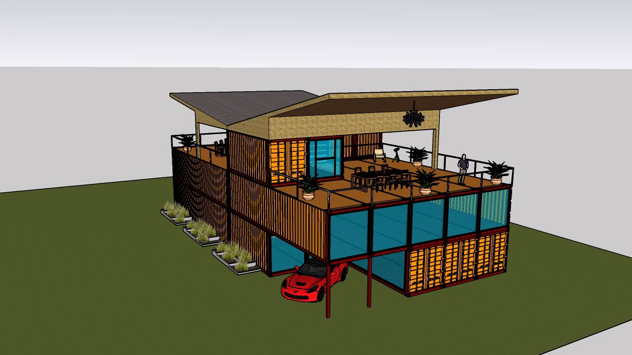 Villa con container villa elegante con piscina container for Villa container