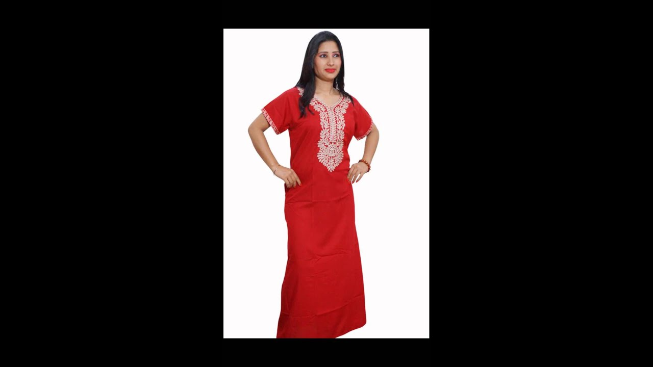 WOMEN\'S EMBROIDERED NIGHT WEAR NIGHTY - YouTube
