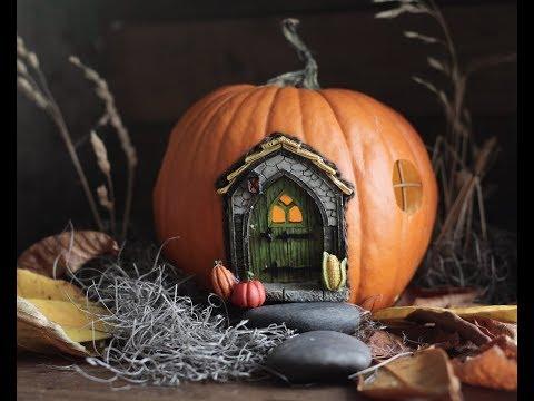 Make a Halloween Fairy Garden with a Pumpkin Fairy House!