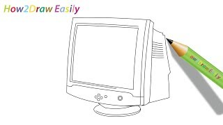 How to Draw a Computer Monitor Step by Step Drawing