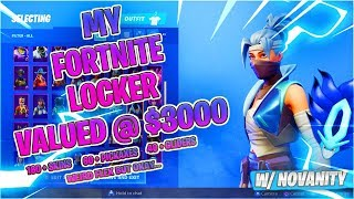 "MY $3000 FORTNITE LOCKER SHOWCASE + EXCLUSIVE SKIN ""OVER 160+ SKINS"""