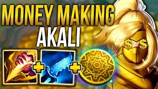 MONEY MAKING AKALI! THE MOST BROKEN GOLD FARMING STRATEGY! - League of Legends