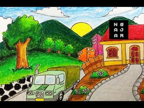 Cara Mewarnai Pemandangan Alam Mobil Rumah Bagus Dengan Crayon Youtube