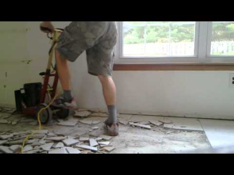 How To Remove Ceramic Tile From The Concrete Floor Youtube