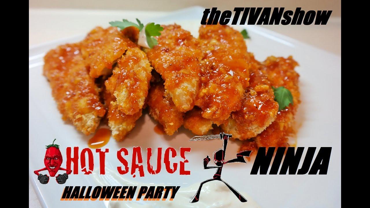 HOT SAUCE NINJA - HOT WINGS CHALLENGE - HALLOWEEN PARTY LIVE EVENT - W/ theTIVANshow