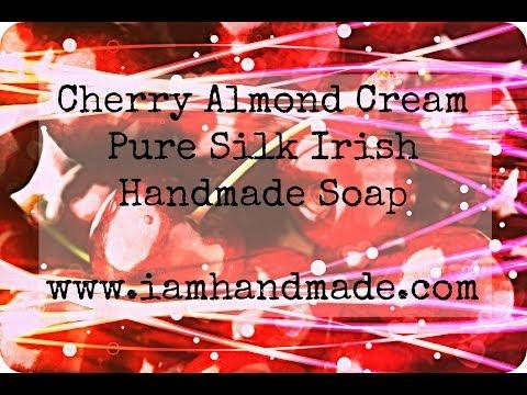 Making Cherry Almond Cream Pure Silk Soap www.iamhandmade.com