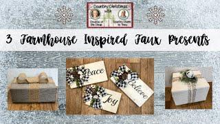 3 Farmhouse Christmas Present DIYS  |  Faux Presents  l  Christmas Decor