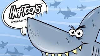 How to Draw a Great White Shark With The Number 4- Harptoons