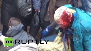 Ukraine brutal video: Clashes between pro- and anti-govt activists in Kharkov(WARNING! Some users could find this footage disturbing. Dozens asked for medical assistance in Ukraine's second-largest city, Kharkov, after the ..., 2014-04-13T22:57:12.000Z)