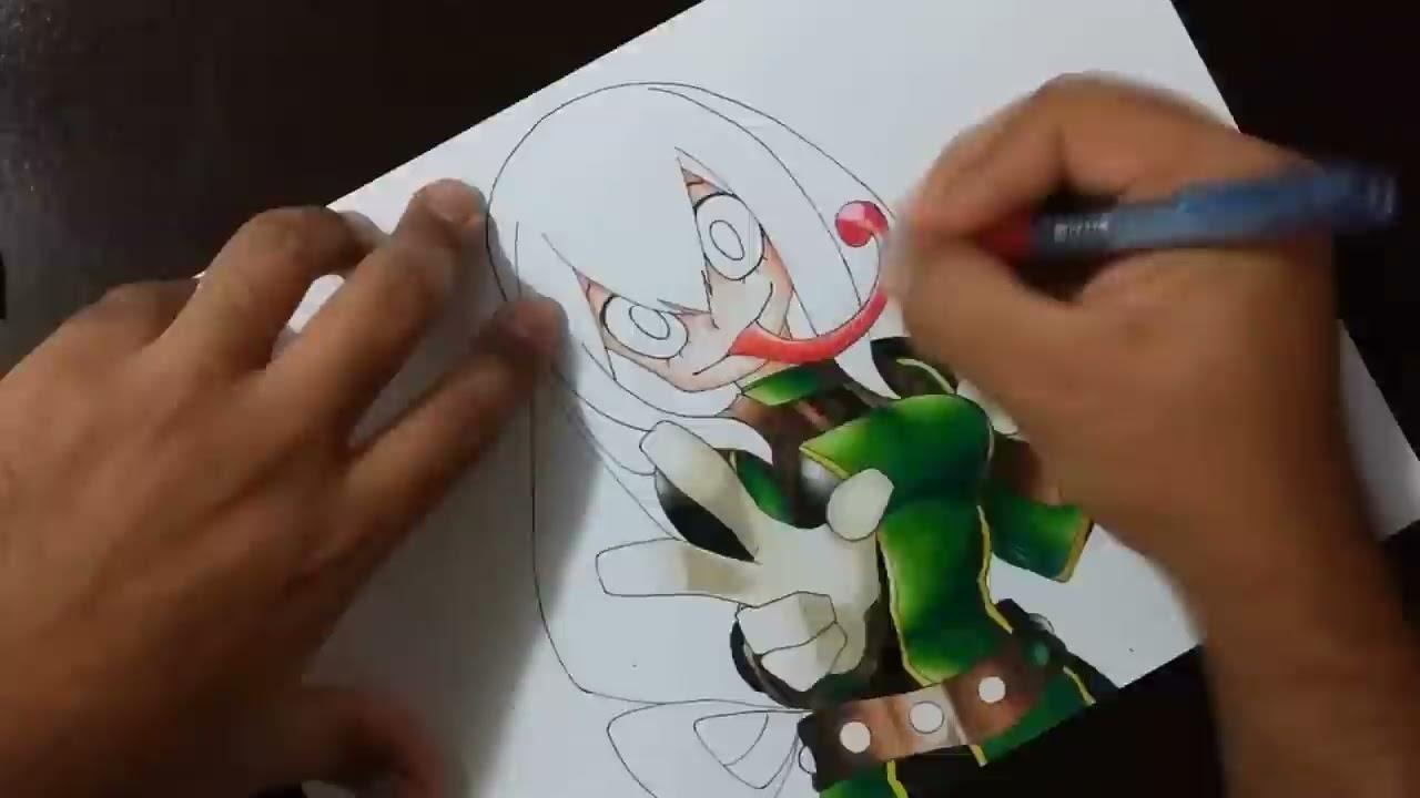 Drawing Tsuyu Asui Boku No Hero Academia