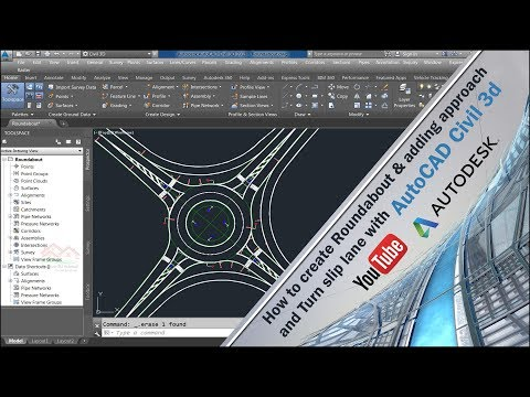 How To Create Roundabout Adding Approach And Turn Slip Lane With Autocad Civil 3d Youtube