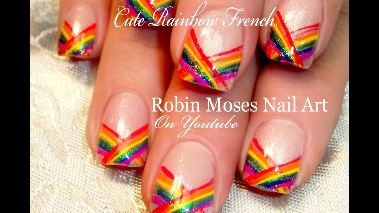 - Cute Rainbow Nails Easy Chevron French Tip Nail Art Design - YouTube