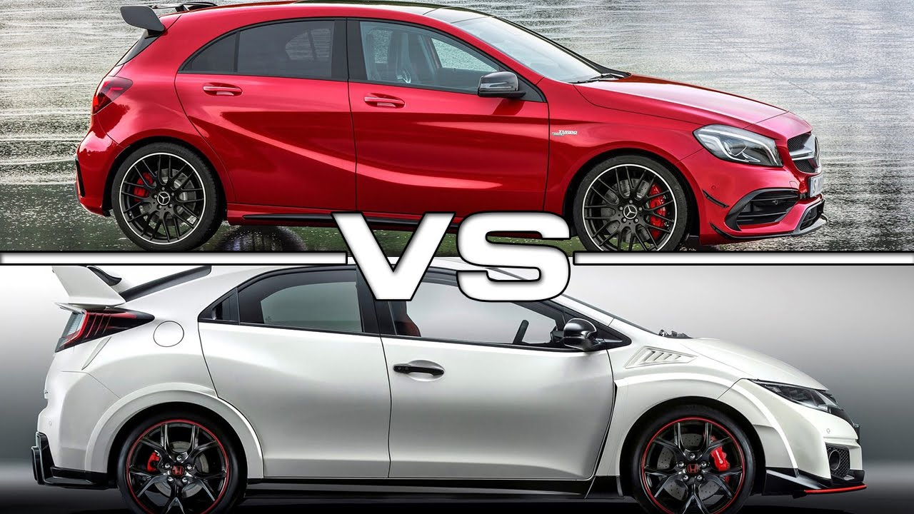 2016 mercedes amg a 45 vs 2015 honda civic type r youtube. Black Bedroom Furniture Sets. Home Design Ideas