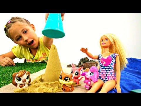 Мультик Барби ♥️ #Барби везет питомцев #ЛитлПетШоп на море! Игры для Девочек Видео Barbie