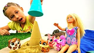 Барби везет Литл Пет Шоп на море! Игры для Девочек
