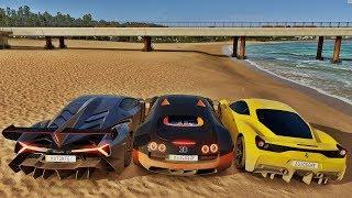 Racha Na Praia De Lamborghini Veneno VS Bugatti Veyron VS Ferrari 458 Speciale - Forza Horizon 3