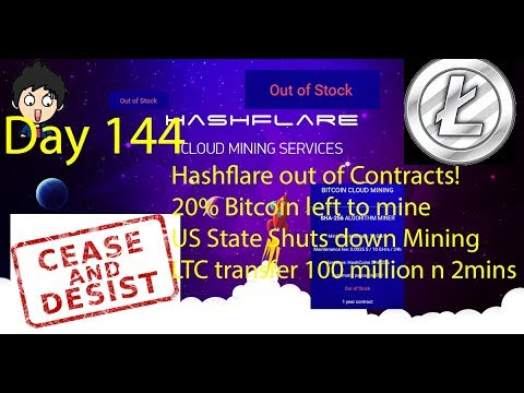 Cloud Mining - Day 144 - Hashflare Out of Contracts, Mining Shut down,  20% BTC Left