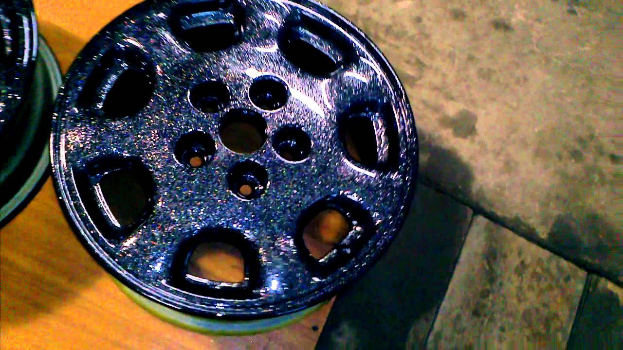 Black With Blue Flakes Paint Job