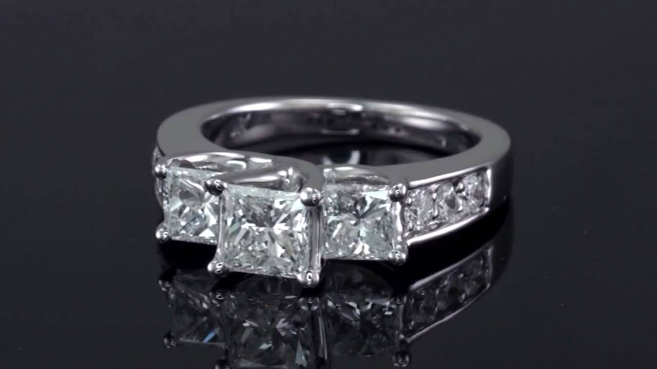 230 Carat Tw Three Stone Princess Cut Diamond Ring 14k White Gold