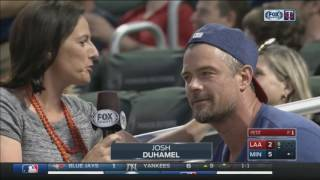 actor josh duhamel spotted on kiss cam at twins game
