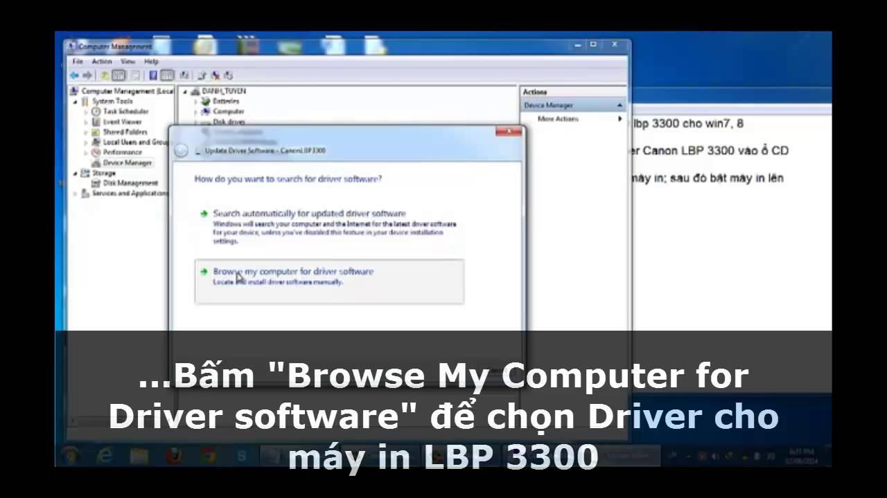 hướng dẫn cài máy in canon LBP 3300 trên Win 7