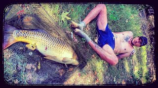 FISHERMAN AKI IN ACTION WITH A LARGE AND WILD FISH ON THE RIVER VARDAR CARP FISHING C R 2020