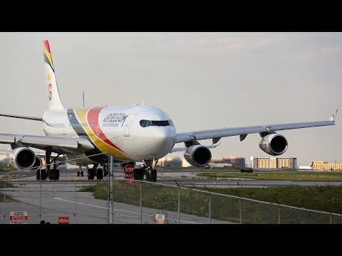 Air Belgium Airbus A340-300 Takeoff from Toronto | Operating for British Airways BA92 to London