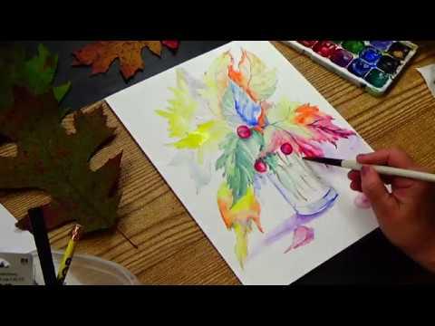Рисуем осенние листья || Букет из листьев