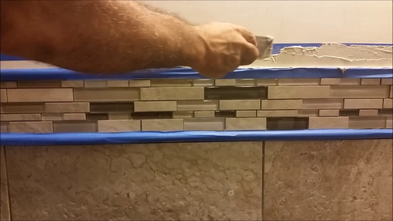 How to Install Glass Mosaic Tile in bathroom shower - Part 6 ...
