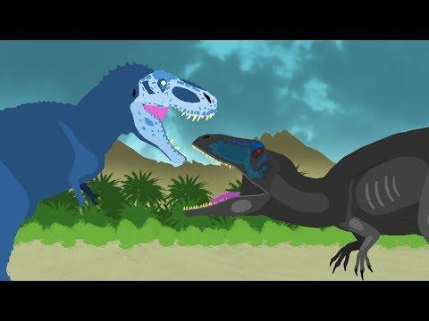 Dinosaurs Cartoons Battles: Tyrannosaurus vs Giganotosaurus. Динозавры Мультфильм DinoMania