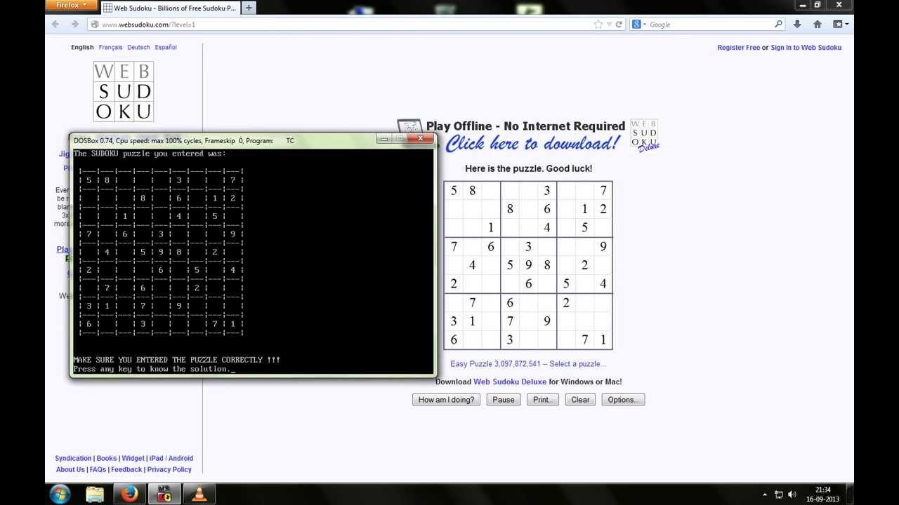 Sudoku puzzle solver based on Layman's algorithm (C++ Program)