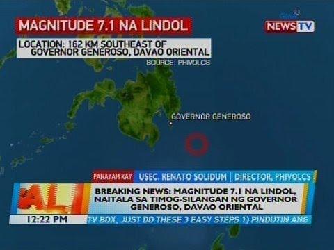 Magnitude 7.1 na lindol, naitala sa Timog-Silangan ng Governor Generoso, Davao Oriental