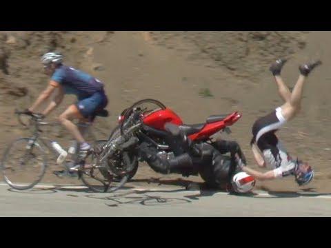 Crazy Crash: Motorcycle vs Bicycle thumbnail